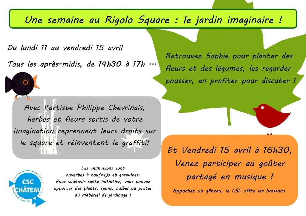 Affiche du jardin imaginaire au Rigolo Square