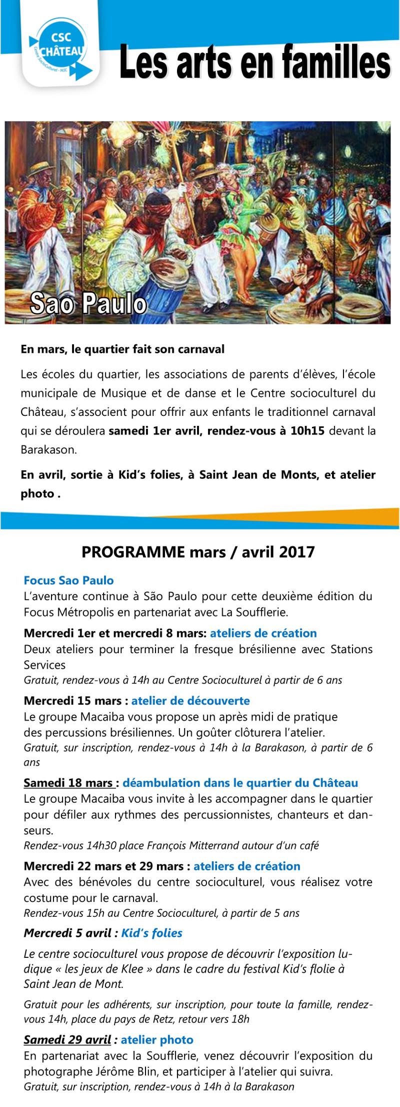 Programme Arts en Famille Mars/Avril 2017