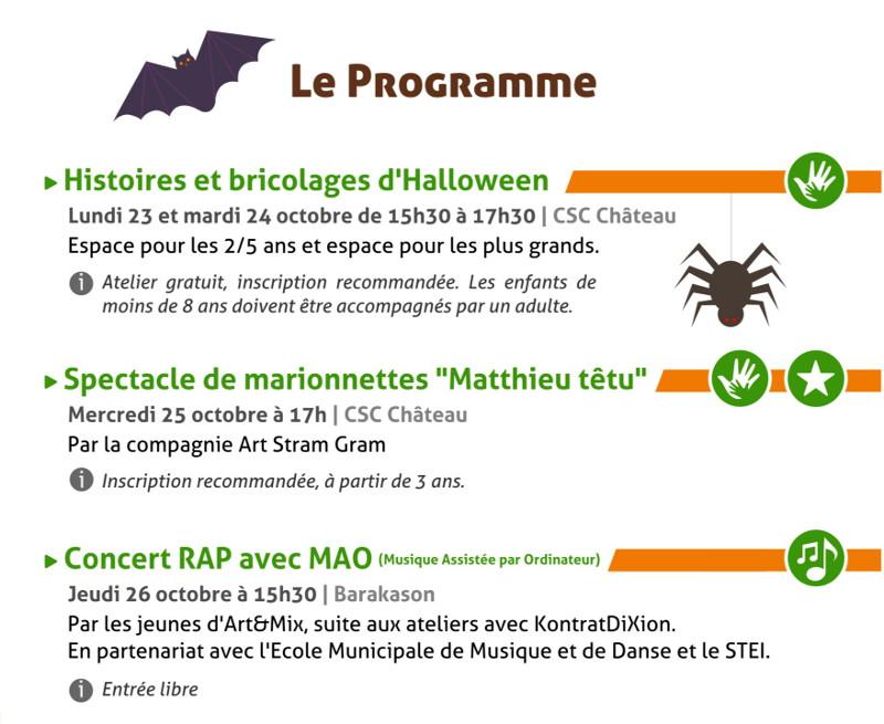Programme des vacances d'octobre